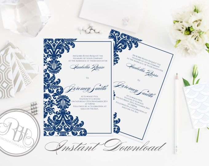 """Henna Damask-Wedding Invitation 5x7 -INSTANT DOWNLOAD-PDF Editable Text Only-Damask Indian Henna Royal Midnight Blue - """"Patricia"""""""