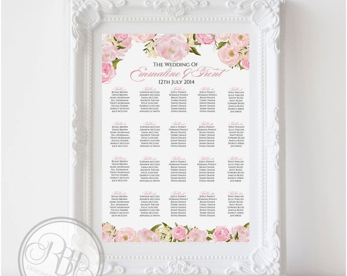 "Pink Peonies Roses Wedding Seating Chart - Rustic Pink Peonies, Roses Digital Files DIY Printable - ""Juliet Seating Chart white background"""