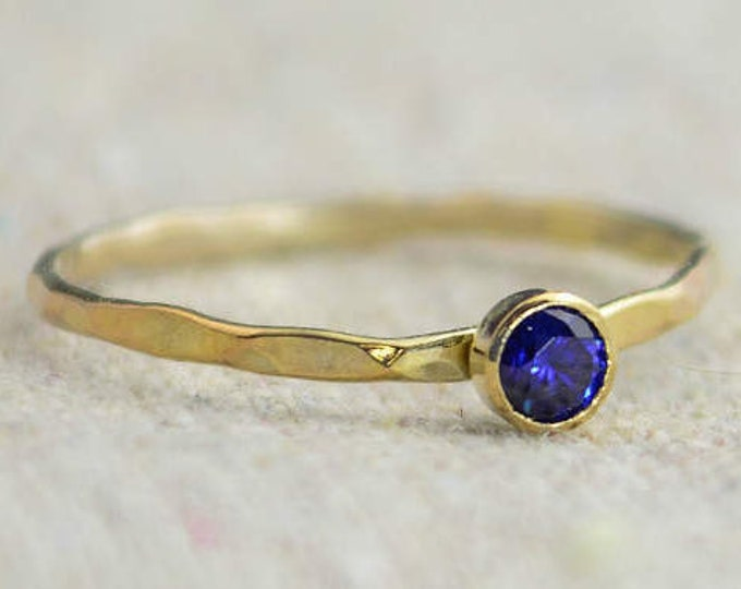 Dainty Gold Filled Sapphire Ring, Hammered Gold, Stacking Rings, Mother's Ring, September Birthstone Ring, Stackable Ring, Rustic Sapphire