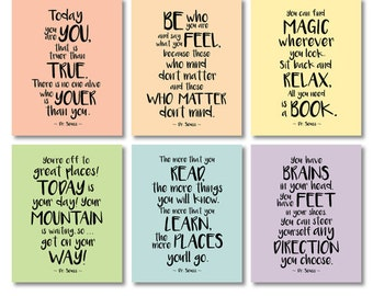motivational kids room quote print set pastel colors printable dr seuss large size wall art decor posters digital print instant download jpg