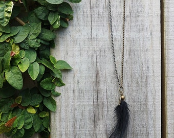Holiday Sale! Black Feather Necklace with Brass Beads, Leaf Charm & Contrast Chain