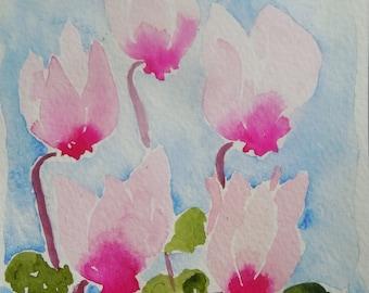 Pink Cyclamen Watercolor Notecard