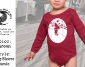 Onesie, long sleeve with track panda graphic. Super comfortable, gender-neutral one piece for baby girls and boys!