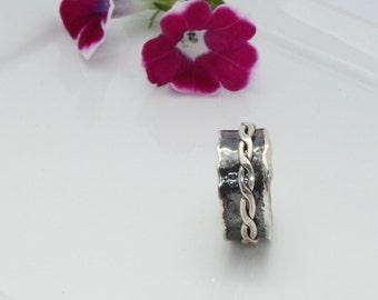Wedding Ring Sterling Silver Ring, Silver Spinning Ring, Meditation Ring, Spinner Twisted Ring,Silver Spinner Rings For Women, SPINNER RING