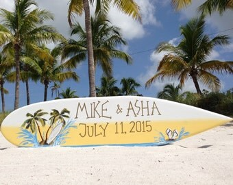 Surfboard Beach Wedding Decor, Just Married Palm Tree Sign, Unique Wedding Ceremony Decor