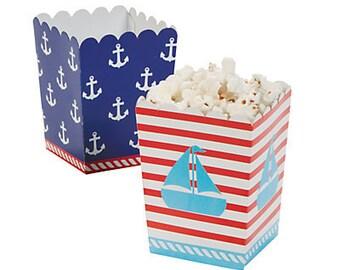 12/  Nautical Mini Popcorn Boxes/ Snack boxes/ Treat boxes/Favor boxes