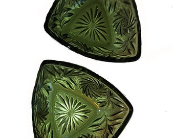 Yard Sale.....EAPG/EAPC Green Floral Glass Bowls