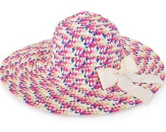 Colorful floppy hat , Sun hat , Hats for women , Wide brim hat decorated with a beige bow.
