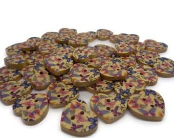 10 wooden heart shaped buttons, painted butterfly buttons, Sewing supplies, craft buttons, uk supplies, cardmaking buttons, scrapbooking