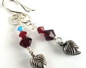 Sterling Silver Heart Charm Earrings with Red and Clear Crystal Bead Accents, Romantic Crystal Beaded Earrings Handmade, Sweetheart Gift