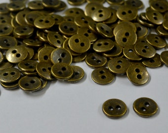 30 Pcs Very Small Antique Look Metal Buttons - Shirt Buttons - Kids Buttons - DIY Buttons- Metal Buttons - Tiny Buttons -