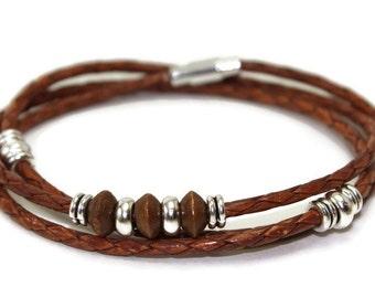 Wrap leather bracelet - braided bracelet - mens leather bracelet - brown leather bracelet - multistrand bracelet - magnetic clasp