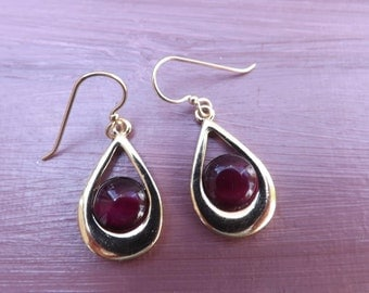 Red and gold earrings, goldfill earrings, red glass earrings