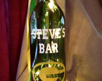 Green Bay Packer Personalized Bottle/Bar/Man cave/gift