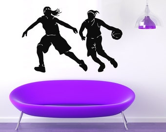 Basketball Wall Decals Girls Basketball Player Sport Decal Vinyl Sticker Home Interior Design Living Room Design Art Mural Gym Decor KG92