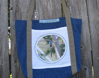 Dragonfly Nature Photo on Denim Tote Bag small
