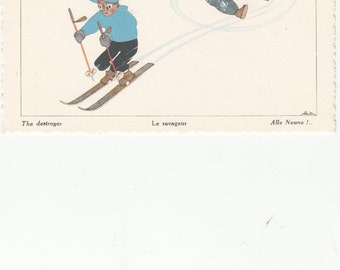 """1950's French Postcard-SKIING- Light French Humor 4"""" X 6"""" Pub. Chambery """"The Destroyer"""""""