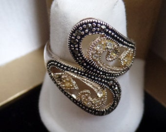 Sterling Silver Ring with  Marcasite and gold overlay  marked 925 MO size 9