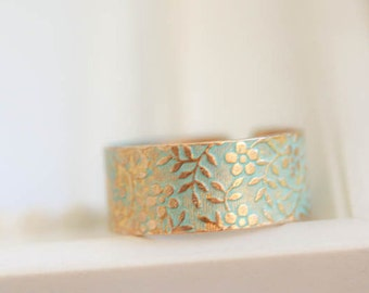 Gold-Bronze Antique Ring verdigris Patina , Jewelry ring for Woman, brass ring, band brass patina ring,  verdigris partina ring