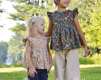 Fall Flowers Flutter Top