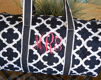 Duffel Bag, Navy Geometric, Travel Bag