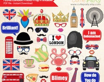 London Theme Photo Booth Prop, I Love London Photo Booth Prop, England Theme Photo Booth Prop Printable