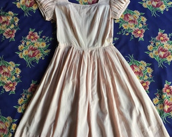 1950s Baby Pink and White Gingham Dress with Detailed Sleeves