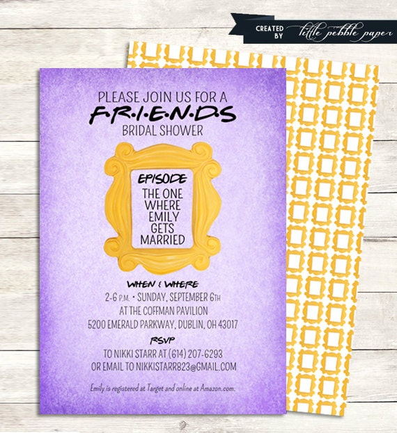 Friends tv show shower invitation bridal shower birthday for Baby tv birthday decoration