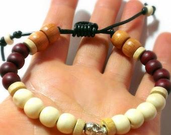 Silver Skull Bracelet, Bone and Wood Beads, Leather Adjustable Bracelet, Black Leather Bracelet, Men's Skull Bracelet, Men's Beaded Bracelet