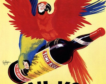 Tonk-Kola Poster, Vintage French Wine Advertising, Parrot
