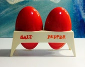 Vintage Cherry Red Mod Space Age Plastic Salt and Pepper Shakers in Holder