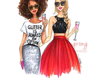 Fashion sketch,Glitter inspired fashion art,Fashion illustration,Chic wall art, Fashion print,fashion poster,Titled,Glitter always an option