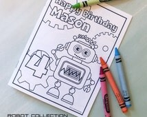 Coloring Book | Robot Party Mini Coloring Book | Personalized with name and age | Printable DIY | Robot Birthday Party Games | Party Favors