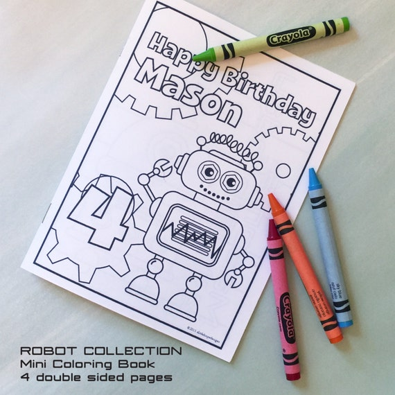 coloring book robot party mini coloring book personalized