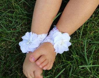 White footless sandals lace footless sandals white lace sandals lace baby sandal barefoot sandals lace baptism sandals white baptism sandals