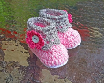 Floral Crochet Baby Girl Shoes,Baby Girl Shoes,Baby Girl Booties,Baby Crochet Booties,Baby Crochet Shoes,Pink Baby Shoes,Pink Baby Booties