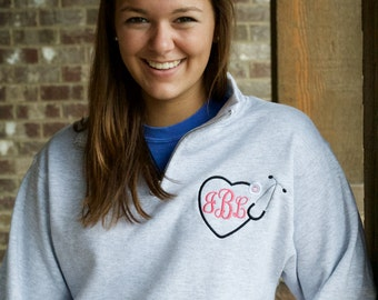 Nurse Monogram Sweatshirt Quarter Zip, Stethoscope Monogram Design, Women's Clothing