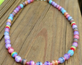 "Colorful beaded striped 16"" choker necklace"