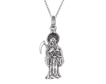 "Sterling Silver .925 Santa Muerte ""Our Lady of the Holy Death"" Charm Pendant, Oxidized 