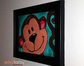 Monkey Wall Art - Nursery Room - Monkey Painting - Acrylic & Canvas - Framed Painting - Jungle Room - Kids Room