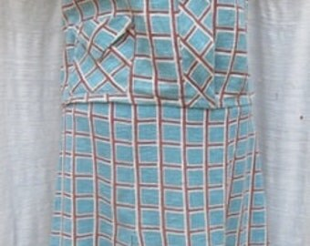 1950s  Pleated COTTON TOP and SKIRT Suit
