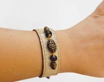white leather bracelet with beads. boho style adjustable bracelet
