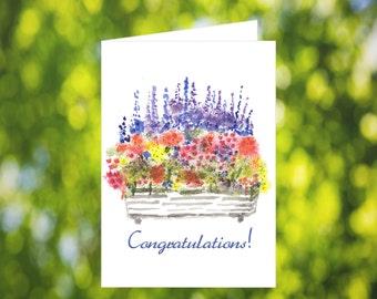 Congratulations Card Download: Watercolor Flower Box Card - Digital Download - Downloadable Card - Congrats Card - Printable Watercolor Card