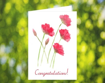 Printable Congratulations Card: Red Poppy Card - Card Download - Poppy Congratulations Card - Congrats Card - Red Flower Card - Poppies