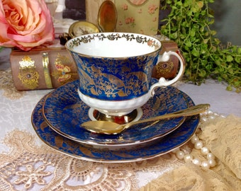 "Lovely Vintage Elizabethan ""Soverign"" Pattern Fine Bone China England Trio Tea Set for Tea Party, Tea Time, Wedding, Shower, Birthday #209"