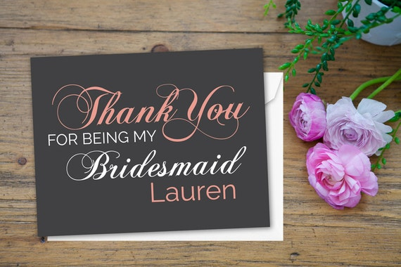 Wedding Thank You Gifts For Bridesmaids: Items Similar To Wedding Thank You Cards, Bridesmaids
