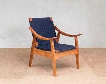 Izapa Armchair by Masaya and Company with Handwoven Navy Blue manila seat & back and Royal Mahogany frame