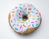 White Donut Pillow Plush - Handmade cushion plushie - food plush