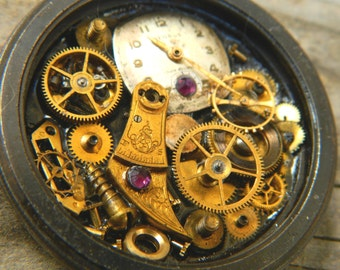 """Steampunk Industrial Pocket Watch Case Locket Gear Collage Pendant """"Rusted Remains"""""""