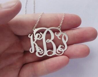 Monogrammed Gifts,1.25 inch Silver Monogram Nameplate Necklace,Silver Initial Necklace,Initial Necklace Pendant,Monogram Letter Necklace